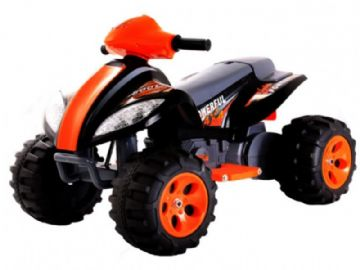 Ride On Bike 6V Electric Motorised Sit and Ride Toy Quadbike in Orange & Black